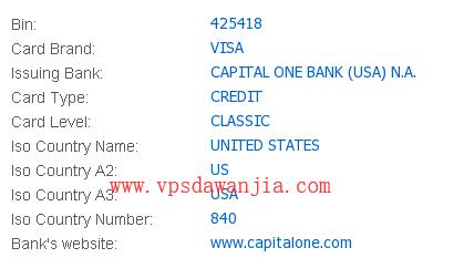 Capital One Visa虚拟信用卡卡头